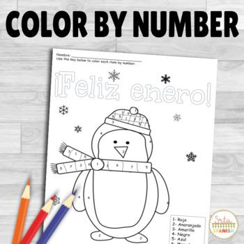 Feliz Enero- Spanish Color by Number