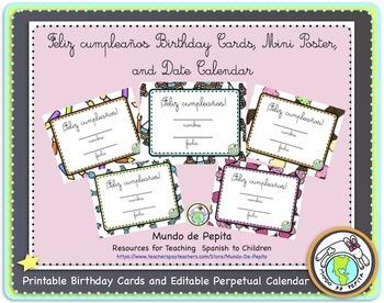 Feliz cumpleaños Birthday Card Pack and Perpetual Calendar