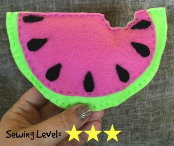 Watermelon Slice Felt Hand Sewing Pattern