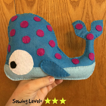 Felt Hand Sewing Pattern- Whale