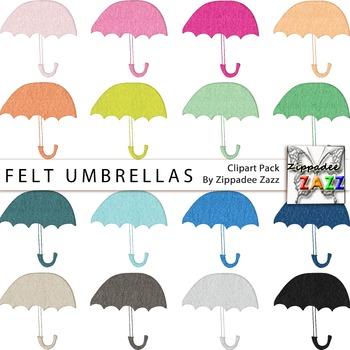 DOLLAR DEAL Felt Umbrellas Clipart - April Showers / Rainy Day