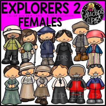 Female Explorers Clip Art Bundle  {Educlips Clipart}