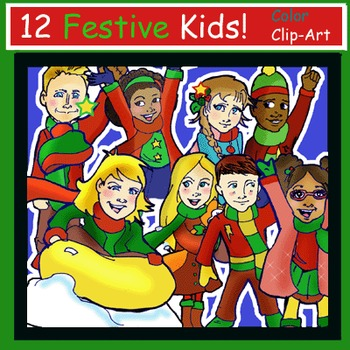 Festive Kids Clip-Art! 12 Pieces Holiday & Christmas IN COLOR!