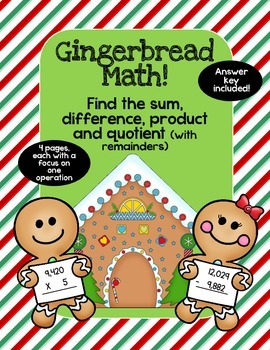 Great for Sub Holiday Gingerbread Addition, Subtraction, M