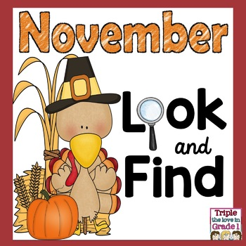 """""""I Spy"""" - November (Thanksgiving Words, Sight Words, -an Words)"""