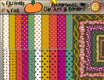 Festively Fall Backgrounds (digital paper), Borders & Clip Art