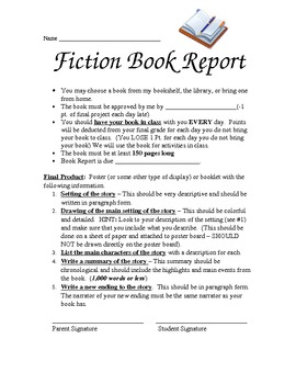 Fiction Book Report Poster or Booklet Project