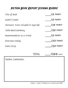 Fiction Book Report Rubric