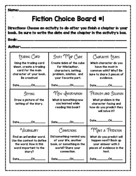Fiction Choice Boards and Activities