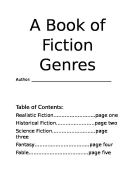 Fiction Genres Booklet