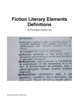 Fiction Literary Elements Vocabulary Terms and Definitions