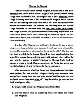 Fiction Magnus the Magnet Reading Comprehension Worksheet