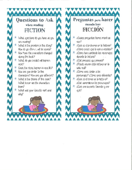 Fiction/Non-Fiction Questions Bookmark-Bilingual English/Spanish