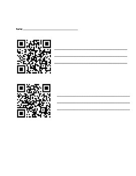 Fiction Reading Response QR codes