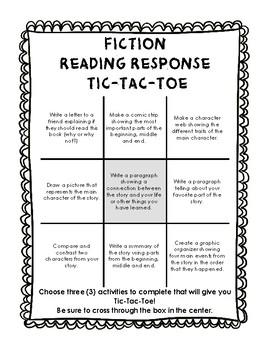 Fiction Reading Response Tic Tac Toe