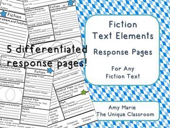 Fiction Text Elements Response Pages
