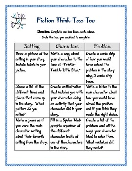 Fiction Think Tac Toe ~ Differentiated Product
