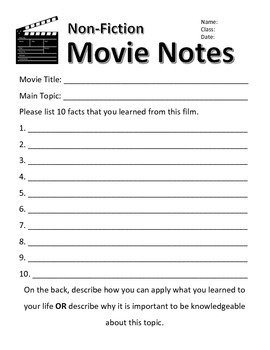Fiction and Non-Fiction Movie Notes