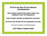 Fiction and Non-Fiction Paragraph Comprehension Main Idea