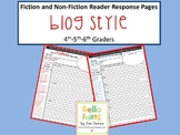 Blog Style Fiction and Non-Fiction Reader Response Pages