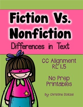 Fiction vs. Nonfiction: Differences in Text {No Prep Printables}
