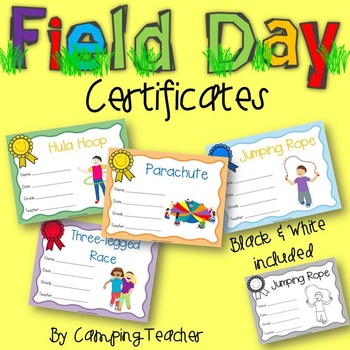 Field Day Certificates Color and Black and White Versions