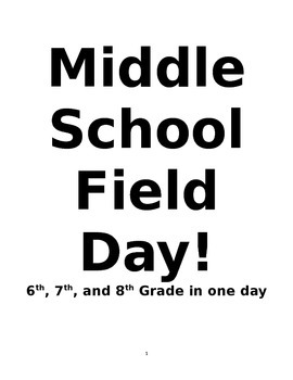 Field Day Plans- Junior High One Day