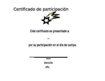 Field Day certificate (Spanish)