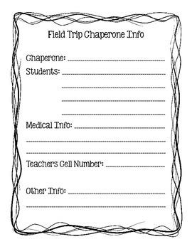 Field Trip Chaperone Info Sheet
