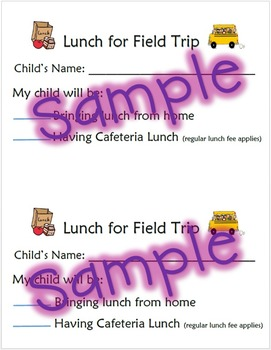 Field Trip Lunch Form