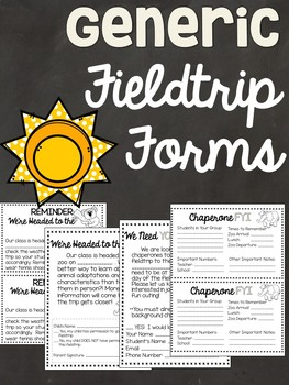 Field Trip Forms - Generic - Permission Slips, Chaperone L