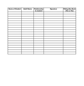 Field Trip Sign Out Sheet