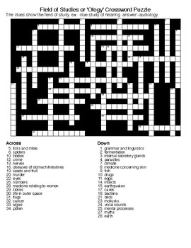 Field of Studies or 'Ology' Crossword & Word Search Puzzles