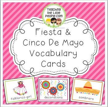 Fiesta & Cinco de Mayo Vocabulary Cards for Preschool and
