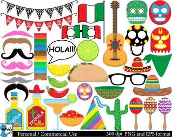 Fiesta Props Clipart Digital ClipArt Personal, Commercial