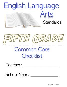 Fifth Grade (5th Grade) CCSS ELA Checklist and Report Docu