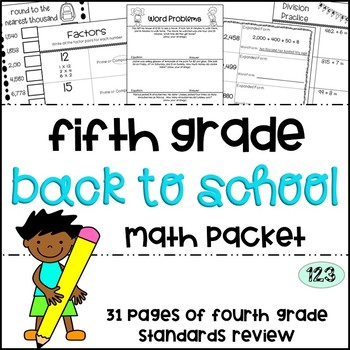Fifth Grade Back to School Math Packet - Fourth Grade Stan