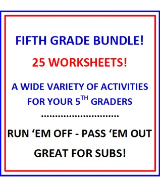 Fifth Grade Bundle Bargain 25 Worksheets