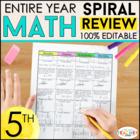 5th Grade Math Homework or 5th Grade Morning Work   ENTIRE YEAR   100% EDITABLE