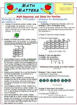 Fifth Grade Common Core Mathematics Newsletters