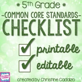 Common Core Checklist - Fifth Grade