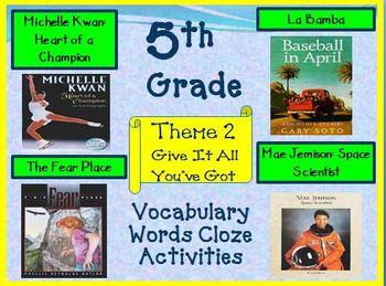 Houghton Mifflin 5th Grade Theme 2 Cloze Worksheets