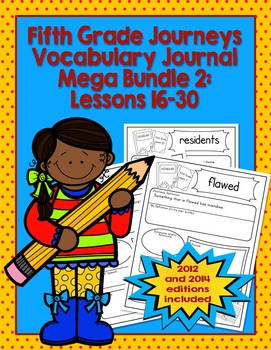 Fifth Grade Journeys Vocabulary Journal Pages Lessons 16-3