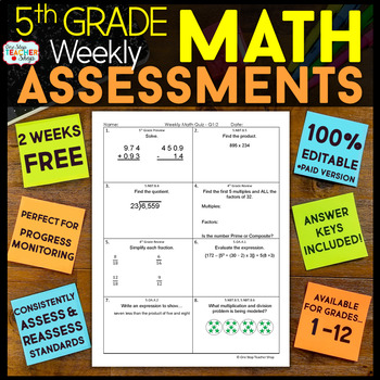 5th Grade Math Assessments or Quizzes FREE