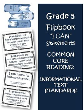 Fifth Grade Informational Text  I Can Statement Cards