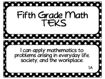 Fifth Grade Math TEKS NEWLY REVISED~ Black and White Polka Dot