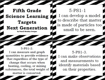 Fifth Grade Next Generation Science Learning Target Posters