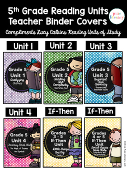 Fifth Grade Reading Units of Study Teacher Binder Covers {
