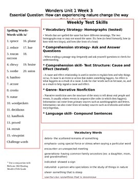 Fifth Grade Study Guide Unit 1 Week 3 McGraw Hill Wonders