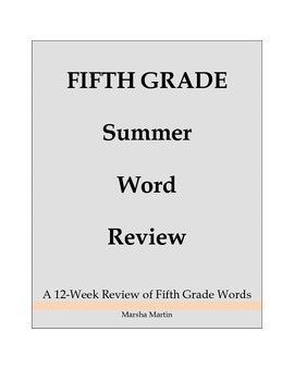 Fifth Grade Summer Word Review